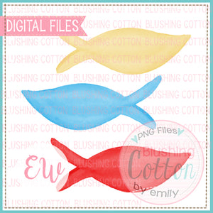 DR BIRTHDAY FISH BLUE YELLOW RED WATERCOLOR DESIGN BCEW