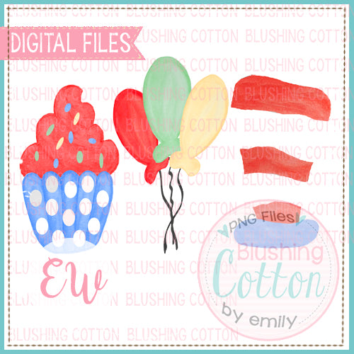 RED AND WHITE STRIPED HAT BALLOONS AND CUPCAKE WATERCOLOR DESIGN BCEW