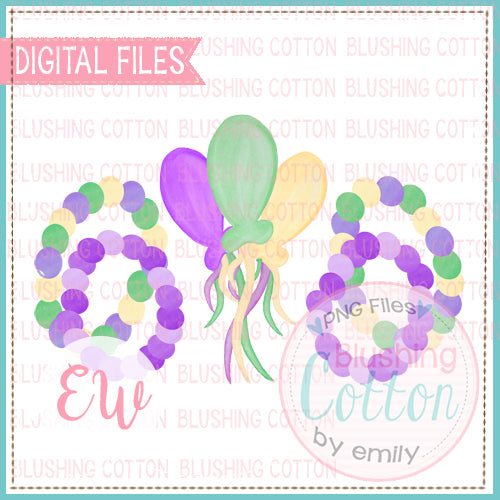 MARDI GRAS BEADS AND BALLOONS WATERCOLOR DESIGN BCEW
