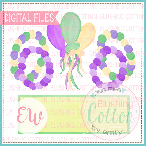 MARDI GRAS BEADS AND BALLOONS WITH NAME PLATE DESIGN BCEW