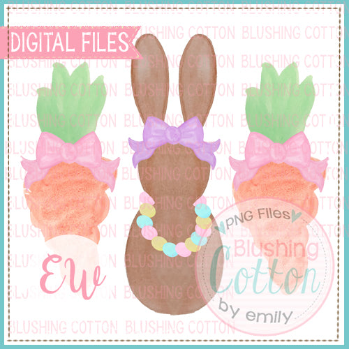 GIRL BUNNY AND CARROTS WATERCOLOR DESIGN BCEW