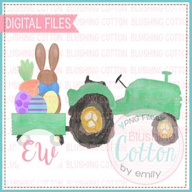 GREEN TRACTOR EASTER BUNNY WATERCOLOR DESIGN BCEW
