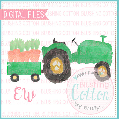 GREEN TRACTOR CARROTS WATERCOLOR DESIGN BCEW