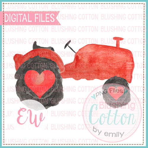 RED TRACTOR HEART WHEELS WATERCOLOR DESIGN BCEW