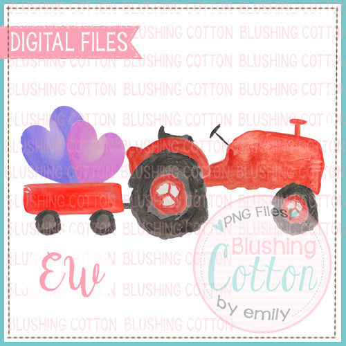 RED TRACTOR WAGON WITH HEARTS WATERCOLOR DESIGN BCEW