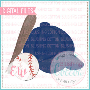 BASEBALL CAP NAVY BAT AND BASEBALL WATERCOLOR DESIGN BCEW