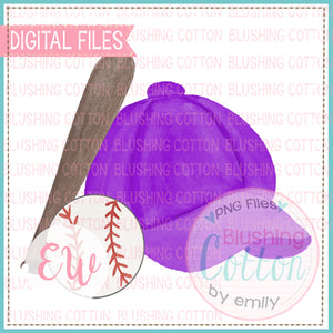 BASEBALL CAP PURPLE BAT AND BASEBALL WATERCOLOR DESIGN BCEW