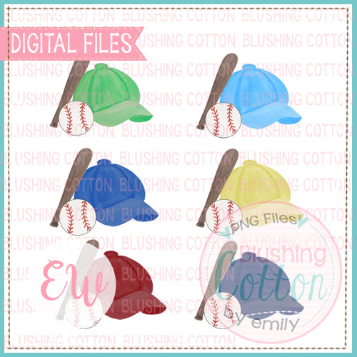 BASEBALL CAP SET 1 WATERCOLOR DESIGN BCEW