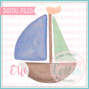 SAIL BOAT 1 WATERCOLOR DESIGN BCEW