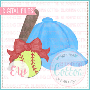 SOFTBALL CAP LIGHT BLUE RED BOW BAT SOFTBALL DESIGN BCEW