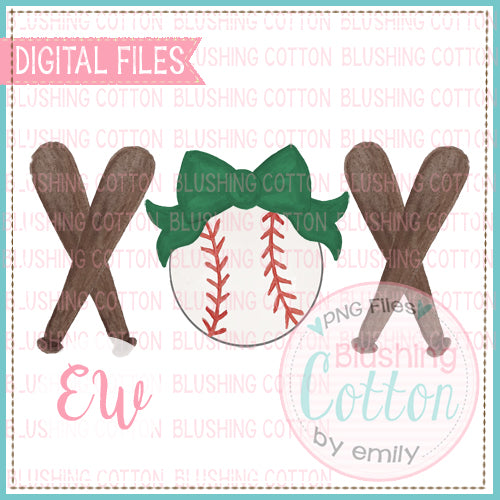 BASEBALL DARK GREEN BOW BATS TRIO WATERCOLOR DESIGN BCEW
