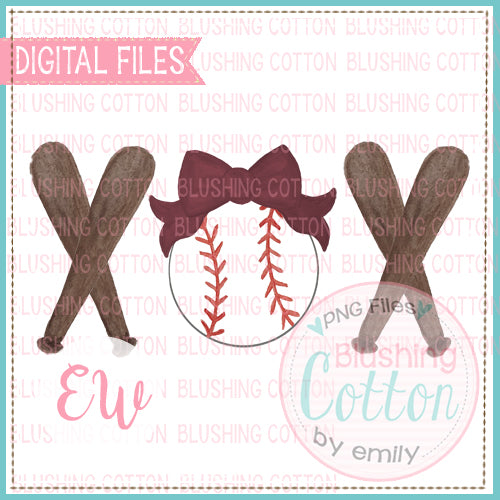 BASEBALL MAROON BOW BATS TRIO WATERCOLOR DESIGN BCEW