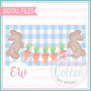 BROWN BUNNIES CARROT BANNER BLUE CHECK RECTANGLE WATERCOLOR DESIGN BCEW