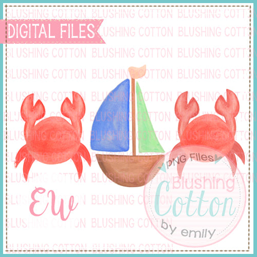 CRAB AND SAILBOAT TRIO WATERCOLOR DESIGN BCEW