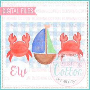 CRAB AND SAILBOAT TRIO ON BLUE CHECK RECTANGLE WATERCOLOR DESIGN BCEW