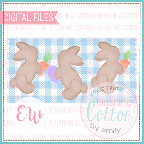 PLAYFUL BROWN BUNNIES ON BLUE CHECK RECTANGLE WATERCOLOR DESIGN BCEW