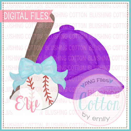 BASEBALL CAP PURPLE AQUA BOW BASEBALL WATERCOLOR DESIGN BCEW