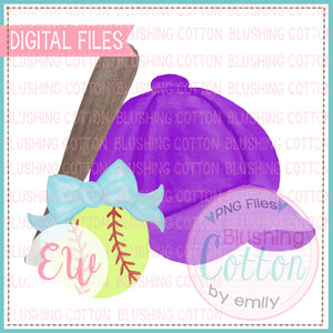 BASEBALL CAP PURPLE BOW TEAL SOFTBALL WATERCOLOR DESIGN BCEW