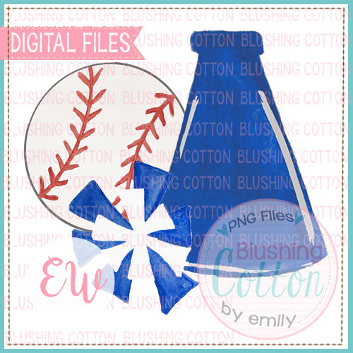 BASEBALL MEGAPHONE POMPOMS ROYAL BLUE AND WHITE WATERCOLOR DESIGN BCEW