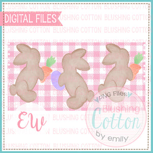PLAYFUL BROWN BUNNIES PINK CHECKED RECTANGLE WATERCOLOR DESIGN BCEW