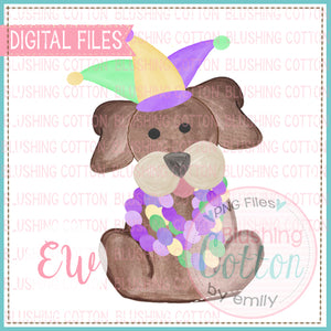 MARDI GRAS PUP WATERCOLOR DESIGN BCEW