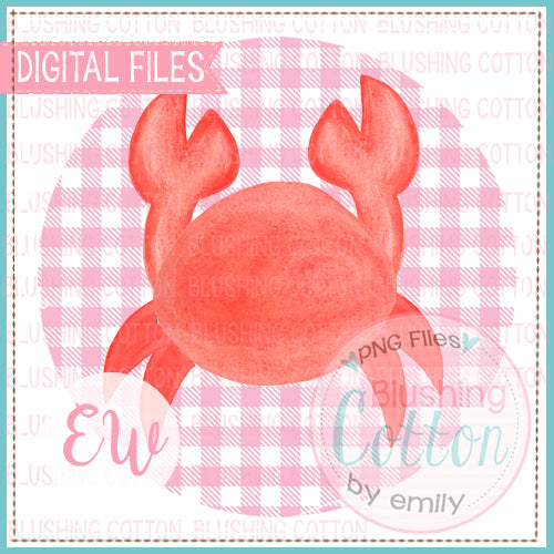 RED CRAB PINK CHECK CIRCLE WATERCOLOR DESIGN BCEW