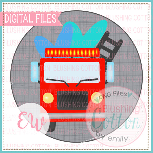 FIRETRUCK OF LOVE WITH GRAY CRISS CROSS CIRCLE BACKGROUND WATERCOLOR DESIGN BCEW