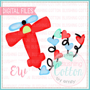 VALENTINE'S DAY AIRPLANE RED WITH HEARTS WATERCOLOR DESIGN BCEW