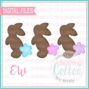 GLITTER TAIL BUNNIES TRIO WATERCOLOR DESIGN BCEW
