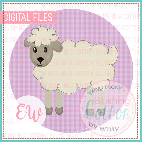 LITTLE LAMB WITH PURPLE GINGHAM CHECK BACKGROUND WATERCOLOR DESIGN BCEW