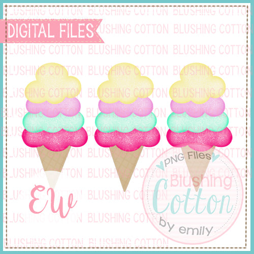 ICE CREAM CONE TRIO WATERCOLOR DESIGN BCEW