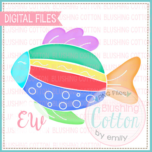 FISH MULTICOLORED WATERCOLOR DESIGN BCEW