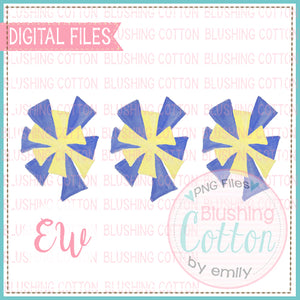 POMPOMS ROYAL BLUE AND YELLOW TRIO DESIGNS WATERCOLOR PNG BCEW