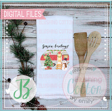 Load image into Gallery viewer, TEA TOWEL MOCK UP FLAT LAY WITH EVER GREEN BCJZ