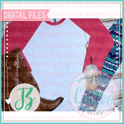 ADULT RED RAGLAN SHIRT COFFEE MOCK UP PHOTO BCJZ