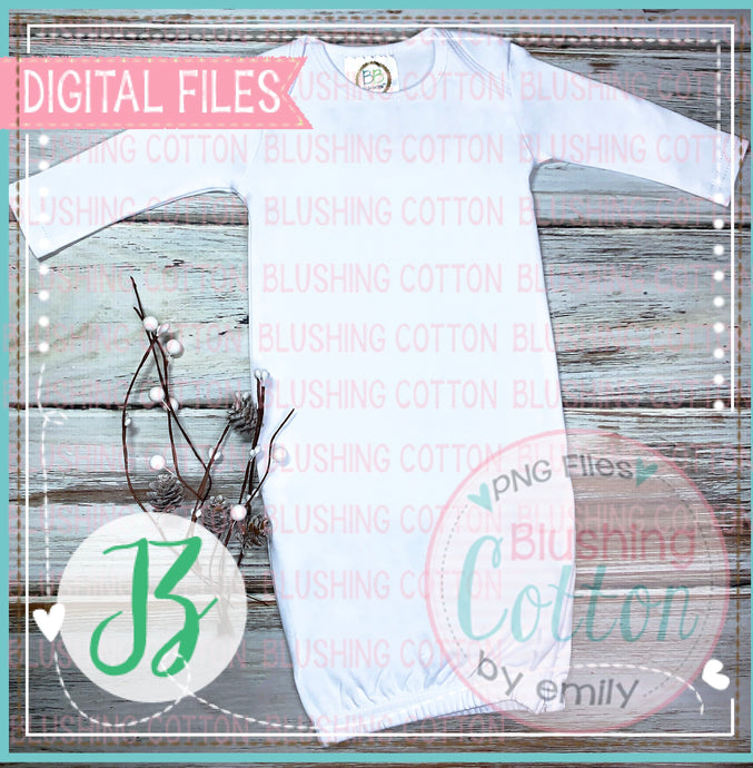 BB BLANKS LONG SLEEVE WHITE GOWN FLAT LAY MOCK UP BCJZ