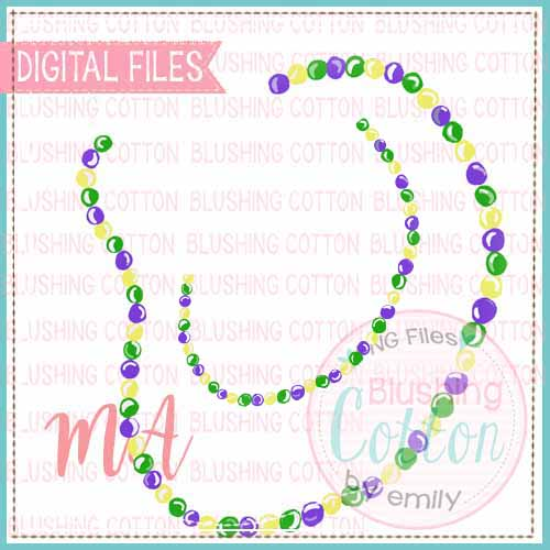 MARDI GRAS BEAD NECKLACE SET OF 2 WATERCOLOR DESIGN BCMA