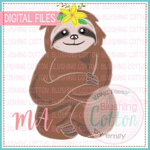 SLOTH WITH FLOWER WATERCOLOR DESIGN BCMA