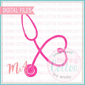 STETHOSCOPE PINK WATERCOLOR DESIGN BCMA