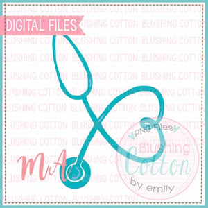 STETHOSCOPE TEAL WATERCOLOR DESIGN BCMA