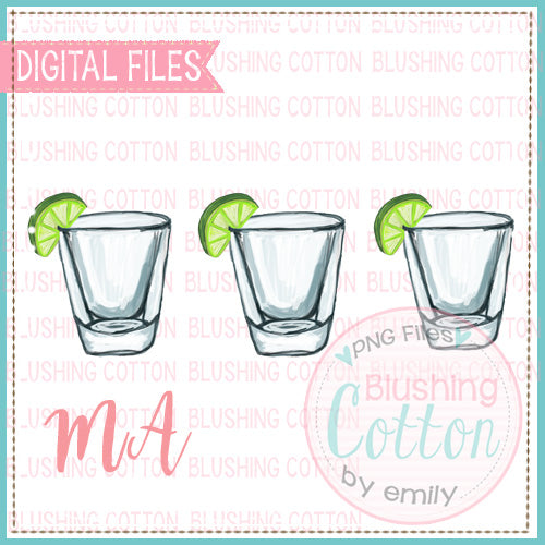 3 SHOT GLASSES WITH LIME WATERCOLOR DESIGN BCMA