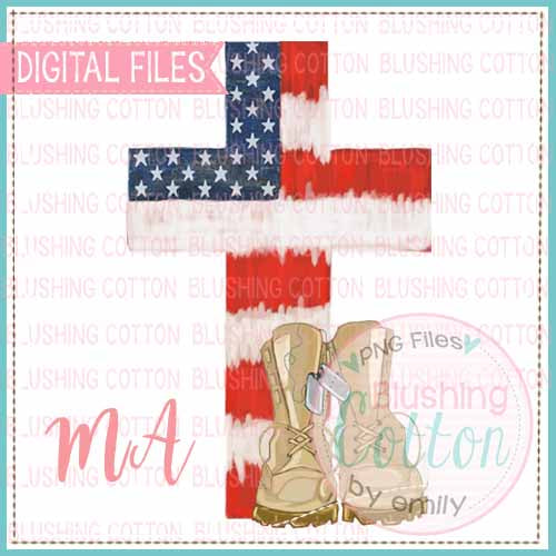 STARS AND STRIPES CROSS WITH ARMY BOOTS WATERCOLOR DESIGN BCMA