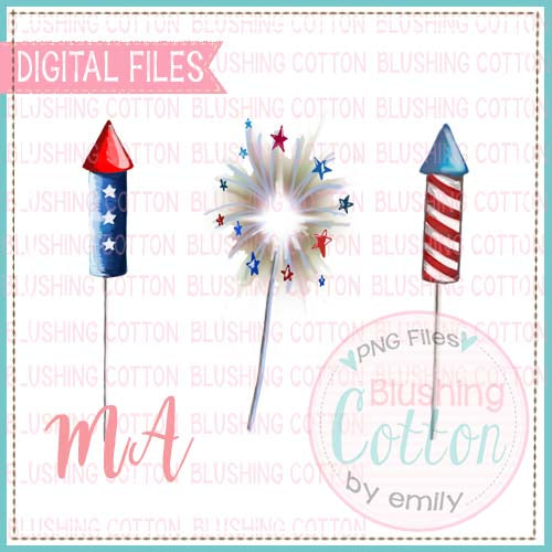 FIREWORKS TRIO WATERCOLOR DESIGN BCMA