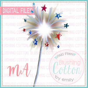SPARKLERS WITH STARS WATERCOLOR DESIGN BCMA