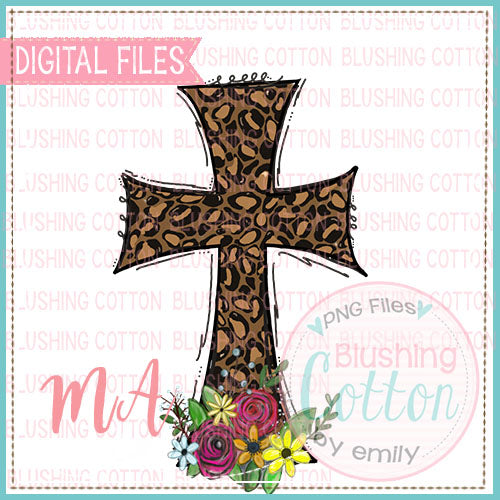LEOPARD CROSS WITH FLOWERS DESIGN  BCMA