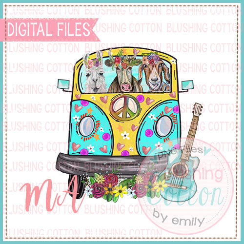 HIPPIE BUS WITH ANIMALS AND GUITAR DESIGN   BCMA