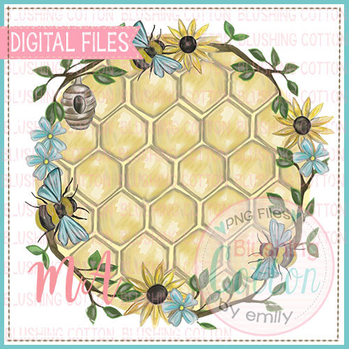 BEE FRAME WITH HONEYCOMB BACKGROUND DESIGN   BCMA
