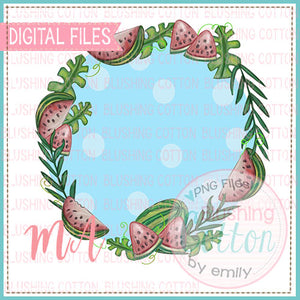 WATERMELON FRAME WITH BLUE DOT BACKGROUND DESIGN   BCMA