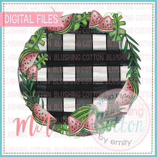 WATERMELON FRAME WITH GINGHAM BACKGROUND DESIGN BCMA