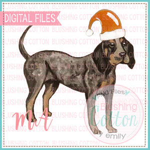 HOUND DOG WITH ORANGE SANTA HAT BCMA